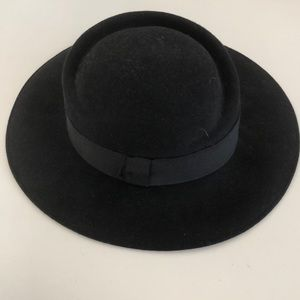 black almost fedora hat with black ribbon detail